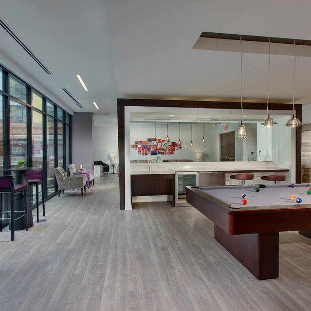 Fenwick Apartments - Lavish  Resident Social Lounge With Billiards, Foosball, TV Gaming And Bar Area