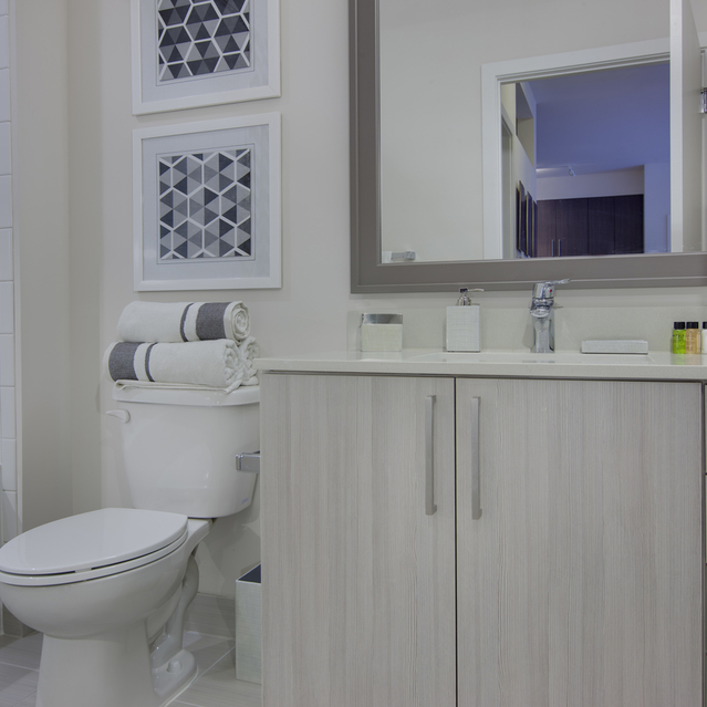 Fenwick Apartments -	ModernBathroom with White Layouts